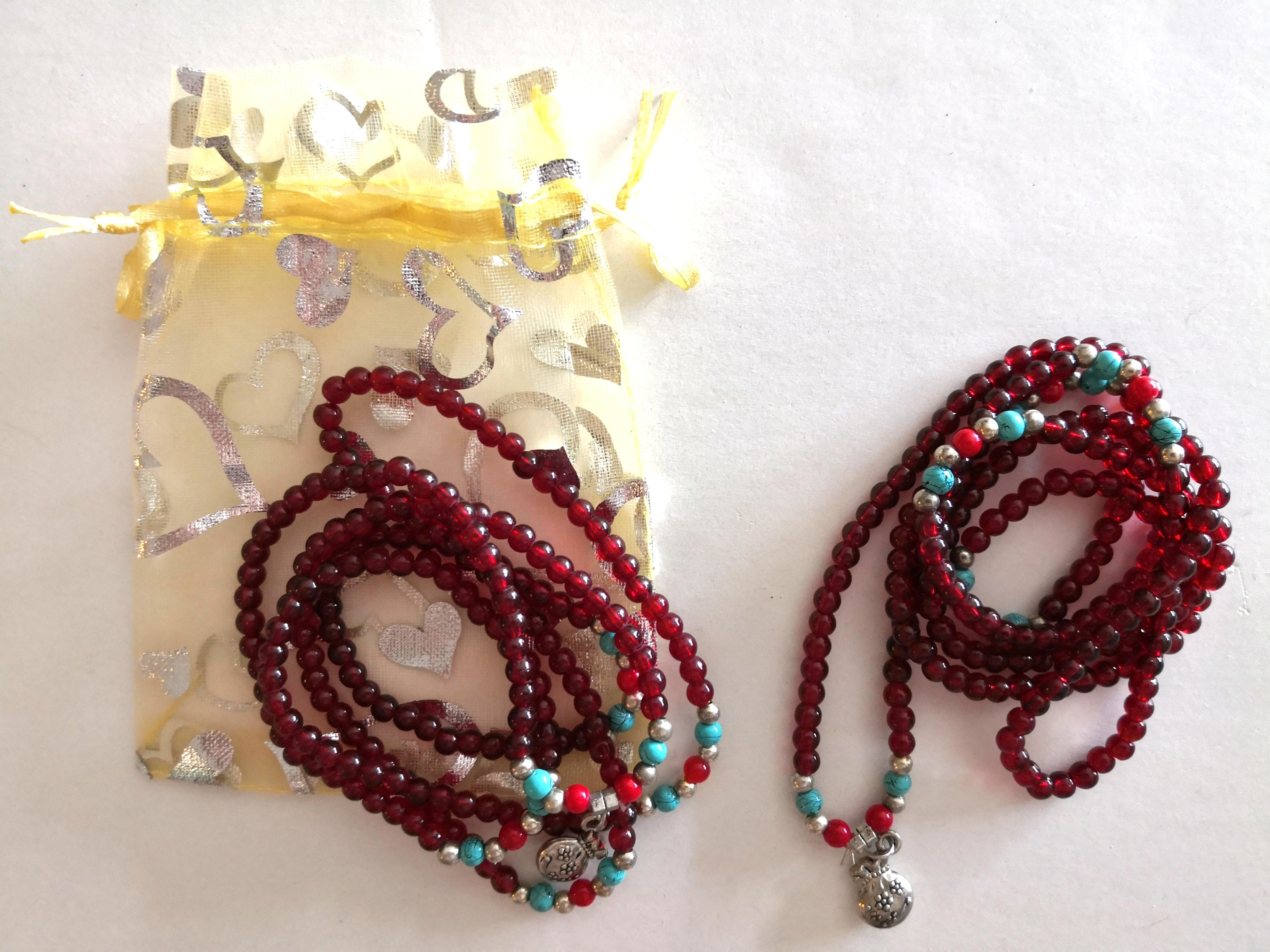 NEW Set of 2 / Red Beaded Long Necklace / Bracelet with Lucky Charm