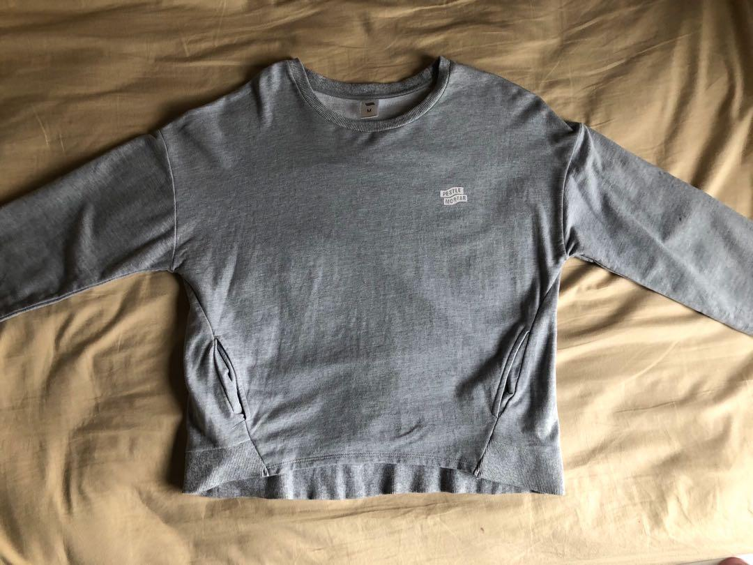 Pestle Mortar Light Grey Crew Neck Sweater with Front Pockets -  Size M