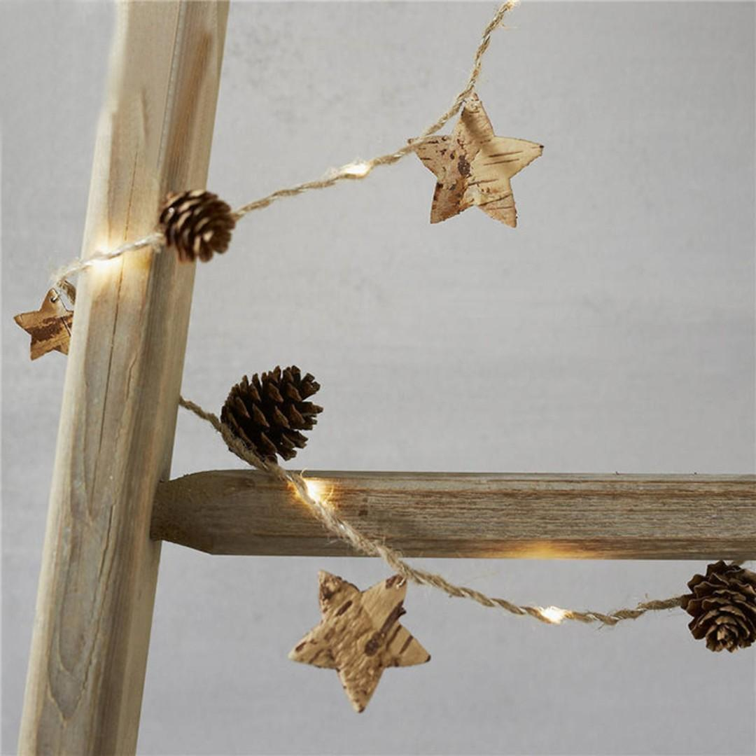 Pine Cone Wooden Star light for Christmas decortation