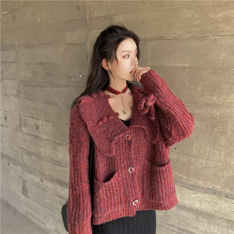 PO Autumn Winter Big Doll Collar Knit Knitted  Jacket Outerwear Top Ulzzang Cherry Red Wool