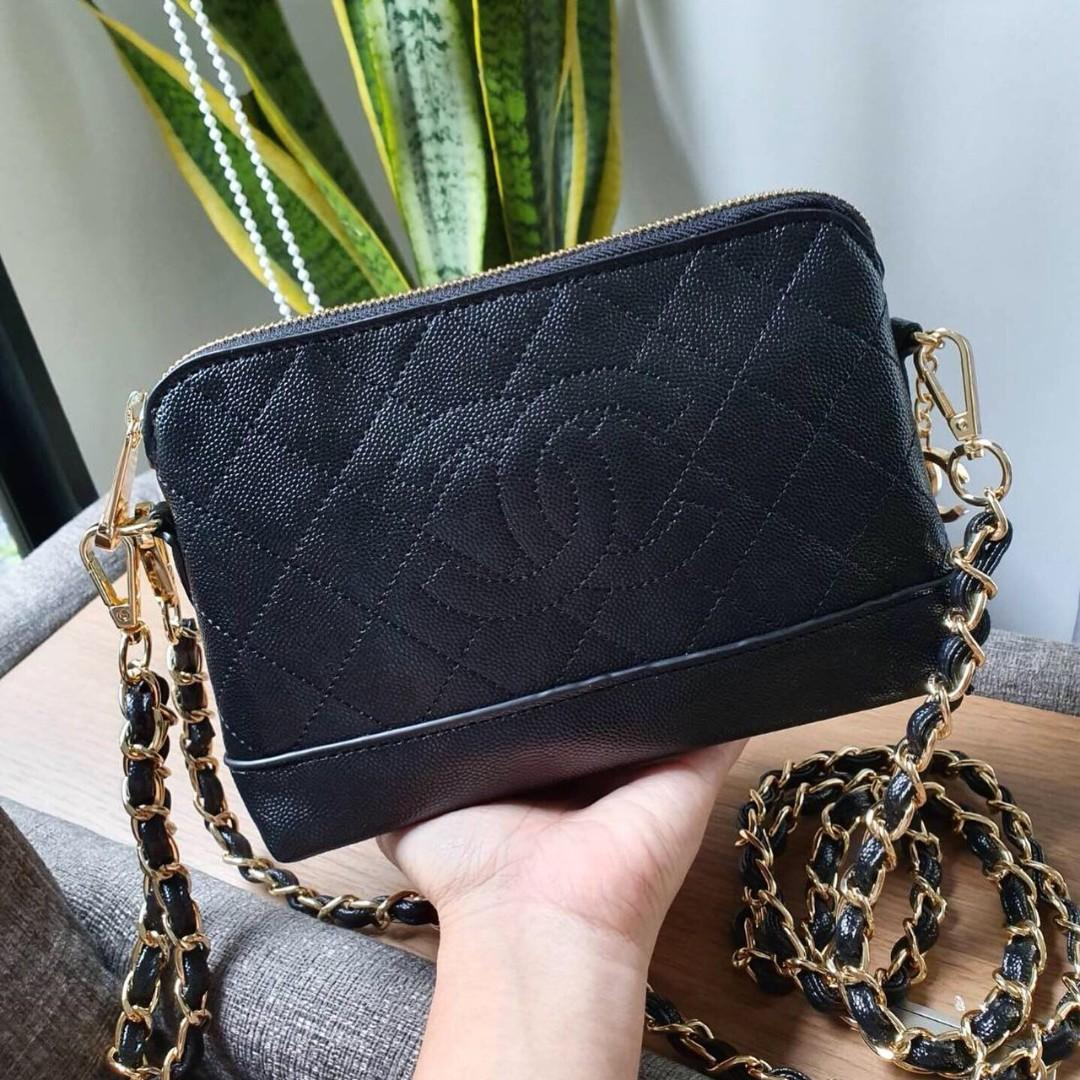 [PO] Diamond Quilt Zip Top Crossbody Bag with Gold Chain (Black) *VIP Gift* PO1117002139 + FREE Normal Post