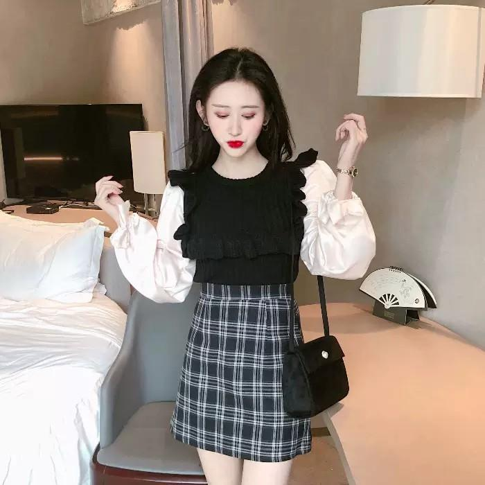 PO Ruffle Square Lining Pattern Long Sleeve Sweater T-shirt Top Shirt Knitted Knit Ulzzang
