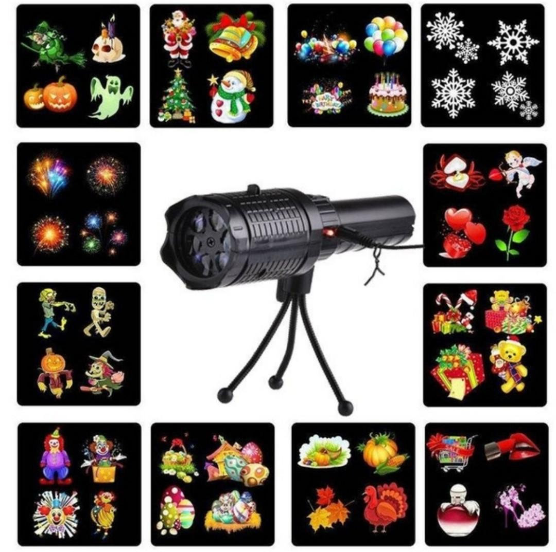Portable Outdoor LED Landscape Projector Lamp, Card Insertion, Projector moves Automatically