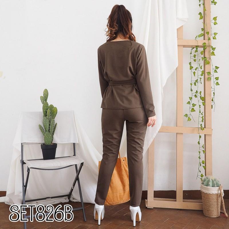 SET826B Setelan baju kerja wanita setelan blouse dan celana panjang polos setelan blouse panjang dan celana bahan wanita setelan baju kerja muslim