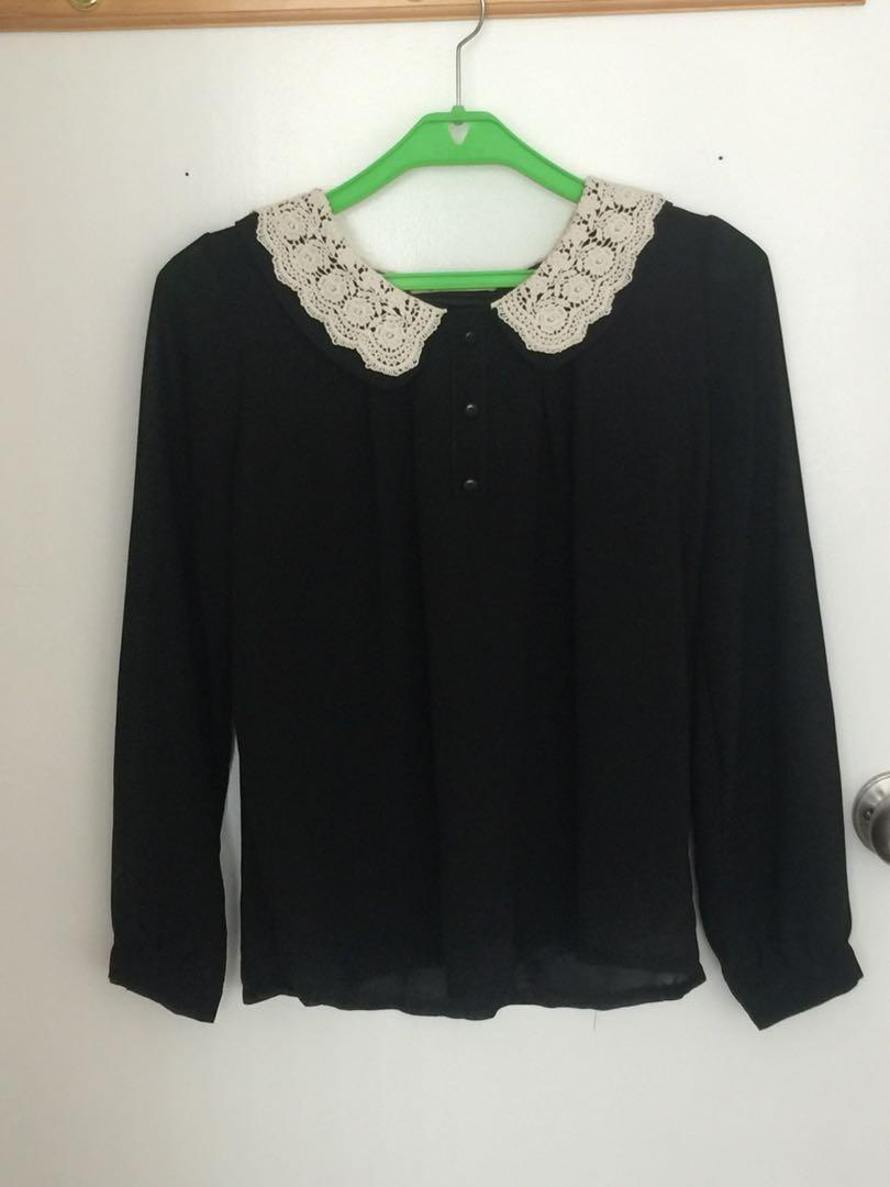 Sheer black vintage top