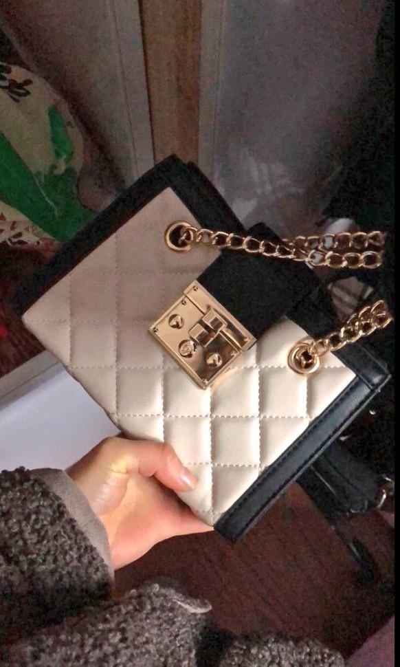 Small Black Rhombus Leather Versatile Gold Chains Women's Fashion PreOrder