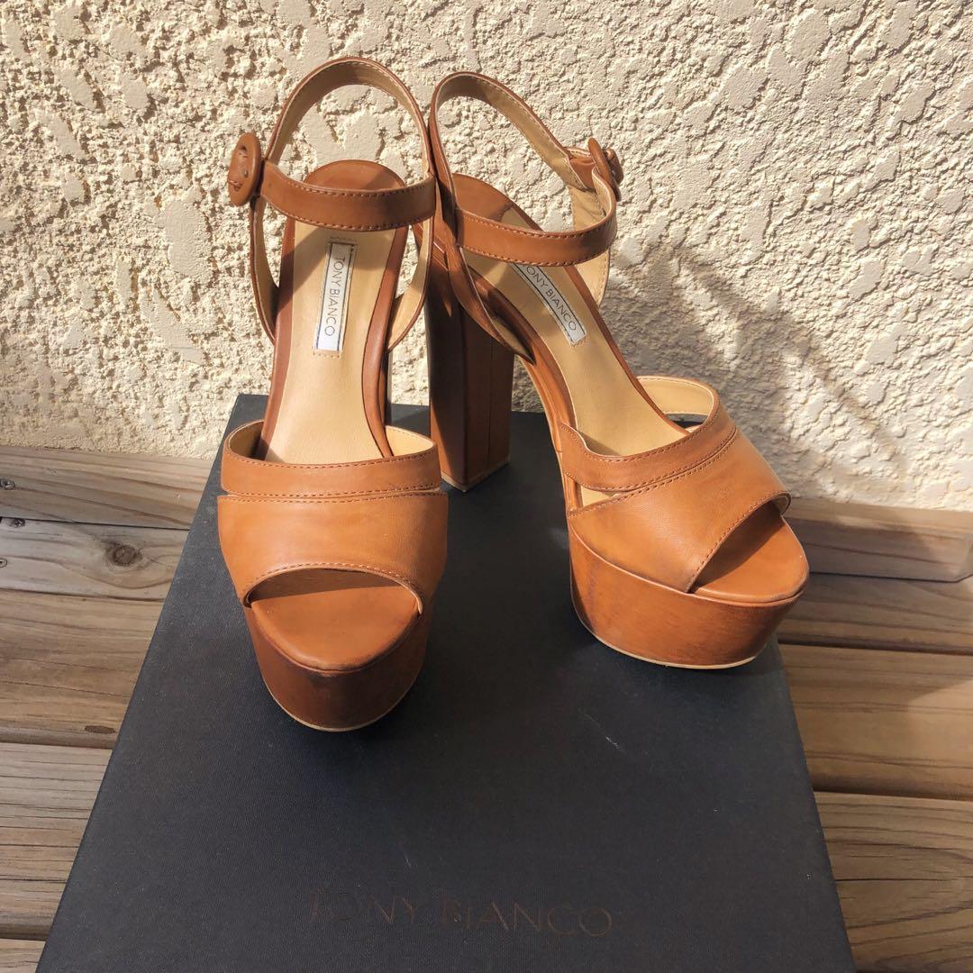 Tony Bianco Tan Platform Heels