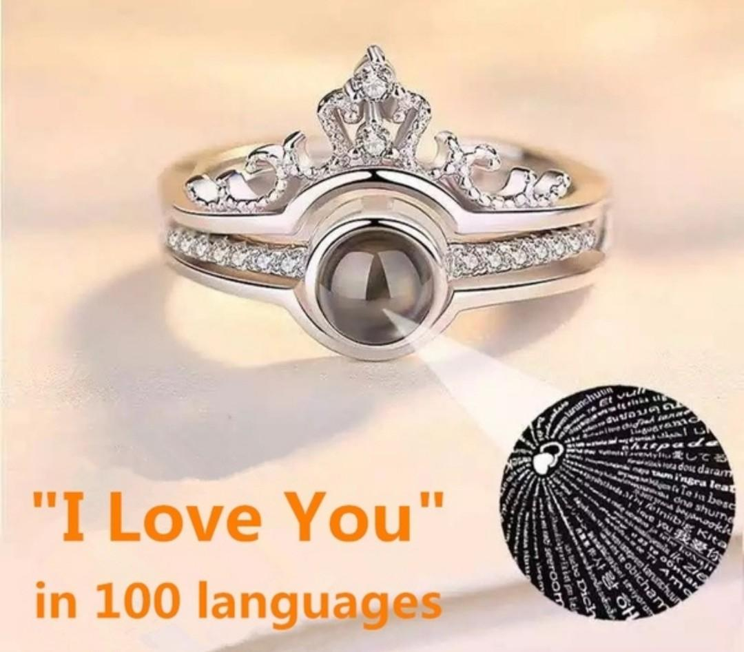 "Womens 925 Sterling Silver, Micro engraving Light Projection Ring.  ""I Love You"" In 100 Languages"