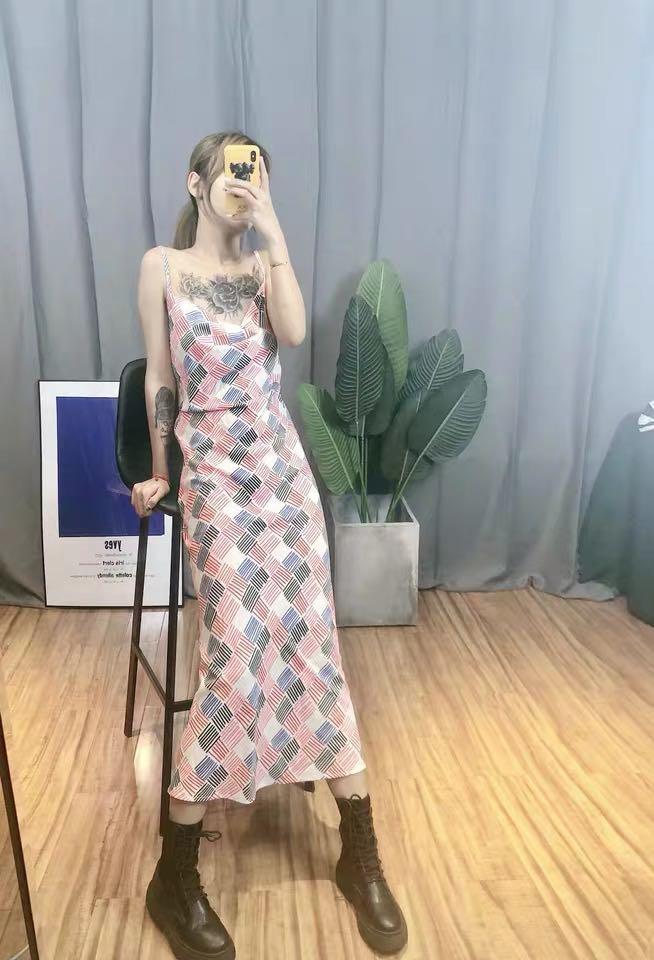 Women's French retro style plaid print dress