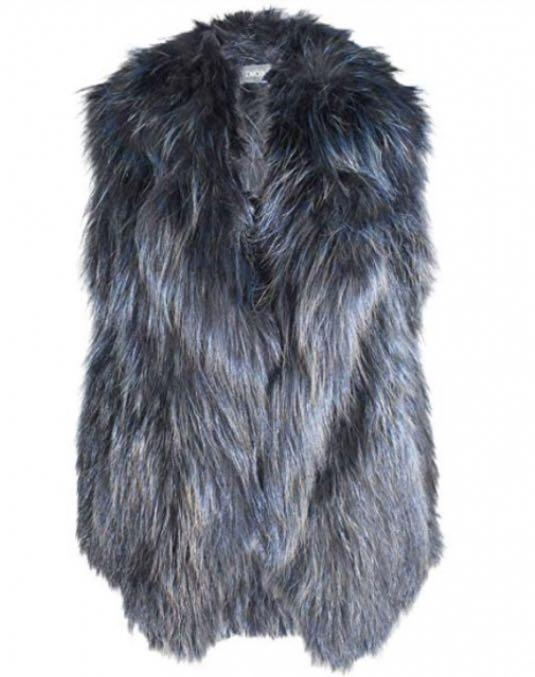 Womens Metallized Knitted Fox Fur Vest Navy Multicolored