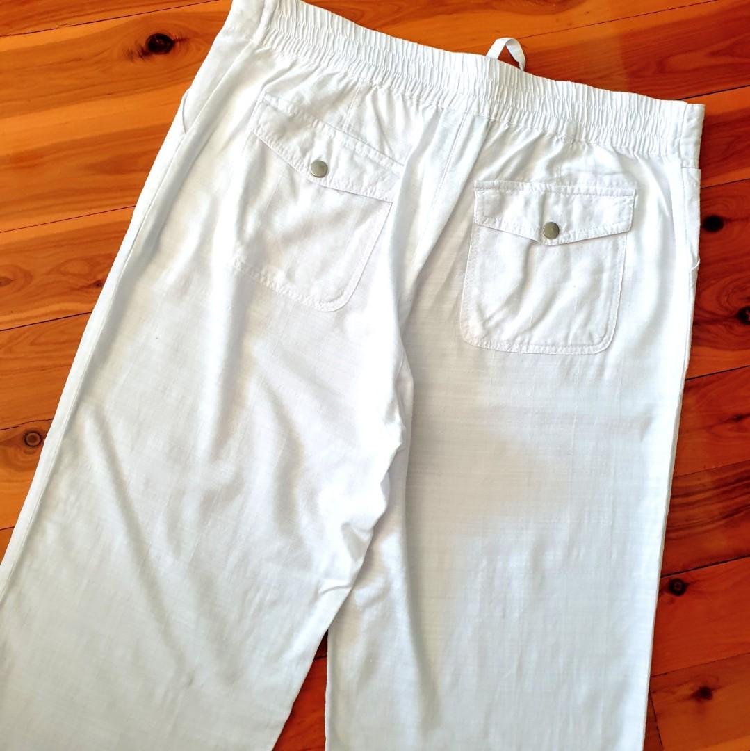 Women's size 12 'KINGSTON GRANGE' Gorgeous white bamboo lounge wide leg pants - BNWOT