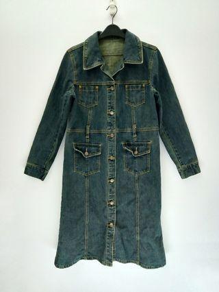Button Down Denim Jeans Long  Jacket / Coat
