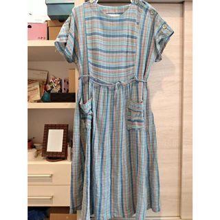 日本製藍紫格古著洋裝
