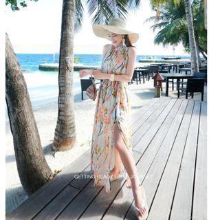 無袖氣質裙襬雙側開叉波希米亞海邊度假收腰修身顯瘦雪紡沙灘裙長裙長洋裝 米底花色M