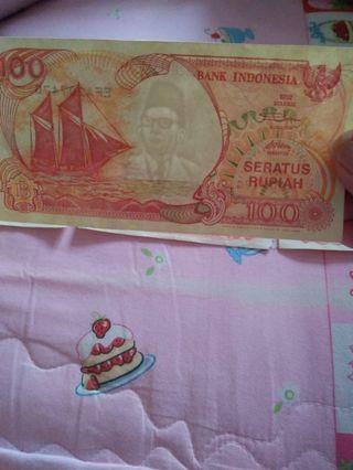 Uang asli 100 Rupiah Tahun 1992