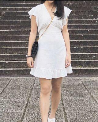 White elegant one piece short dress