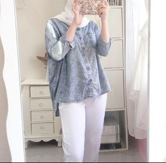 Set white pants + oversize denim top