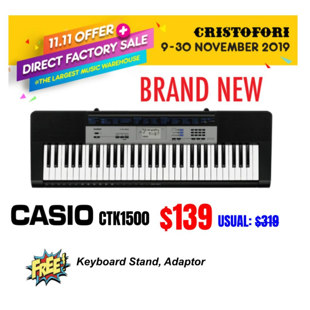 Casio CTK-1500 61-Keys Portable Keyboard Package