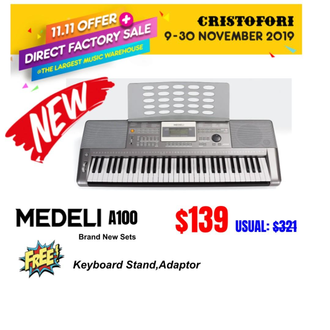 11.11 CRISTOFORI LARGEST MUSIC WAREHOUSE SALES !!! Medeli A100 Keyboard - 61 Keys with Touch Response