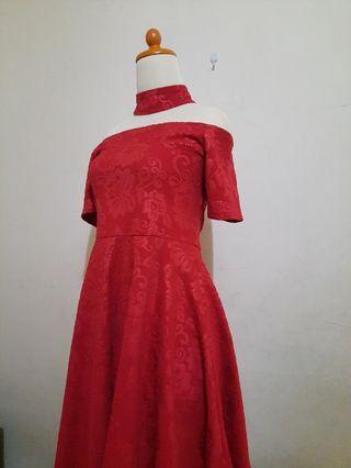 Choker Red Sabrina Dress #promosidress