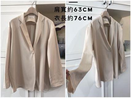 韓版 米色超顯瘦寬版不易皺雪紡外套❤️二手❤️購於精品店