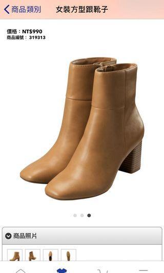 本季新品只穿過一次-GU 方型跟靴子(L號駝色)(實拍照待補)