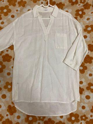 E-WARE 白色襯衫 厚布料 中性 個性 寬鬆