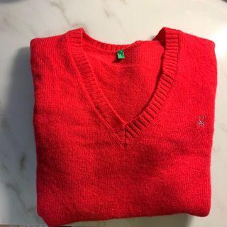 義大利🇮🇹正品UNited colors of bentton(班尼頓)紅色毛衣(M)二手
