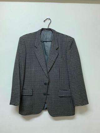 Vintage 格子毛料西裝外套(日本製)