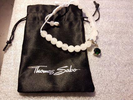 Thomas Sabo 白水晶手珠約8mm加綠水晶銀墜