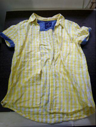 Zara 黃色格子拼接牛仔襯衫