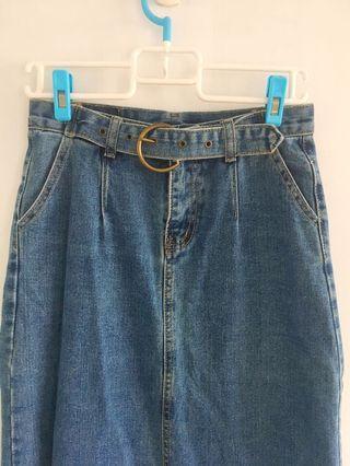 復古  膝下牛仔裙(含腰帶)