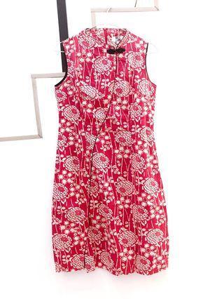 Dress merah cheong sam red