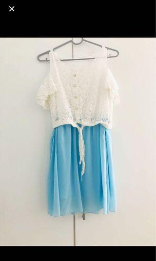 Dress sabrina white lace blue
