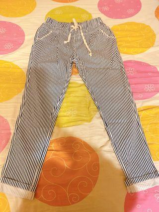 直條紋長褲(彈性伸縮)