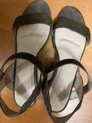 KOKKO 氣質 橄欖綠 涼鞋 4cm 🇹🇼製 露趾