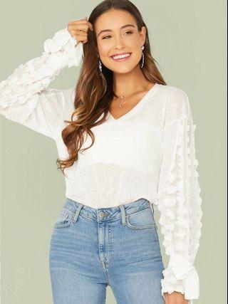 #1111special NEW V-neck 3D Appliques Knot Sleeve Rib-knit top White blouse floral flower blus putih bunga