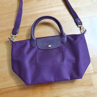 全新 LONGCHAMP 手提斜背兩用包 非摺疊 附說明卡 正品 深紫色