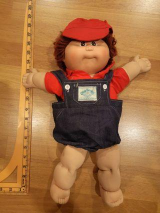 """Vintage Coleco Cabbage Patch Kids 1984 Red Hair Brown Eyes Overall Blue Jean Red Shirt 16"""""""