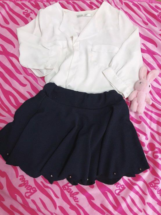 白色上衣櫬杉+藍色花瓣短裙特價2件100元