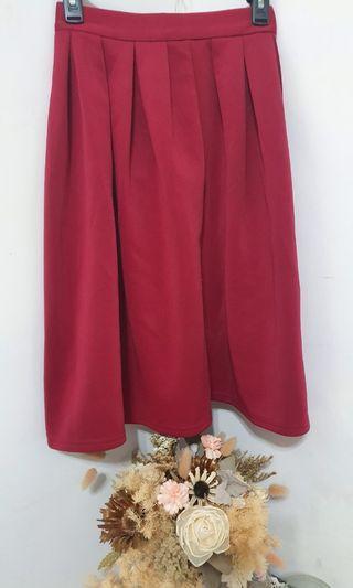 壓褶傘擺氣質圓裙