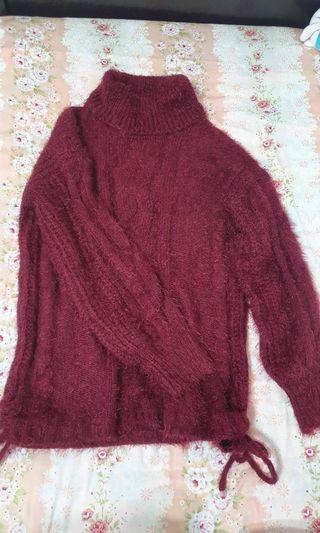 鬆糕領側綁帶針織毛衣洋裝