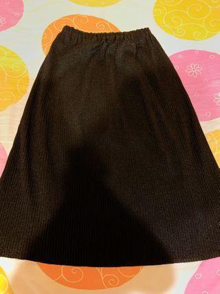 質感伸縮中長裙 (黑)