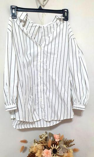 日牌 直條紋七分袖襯衫