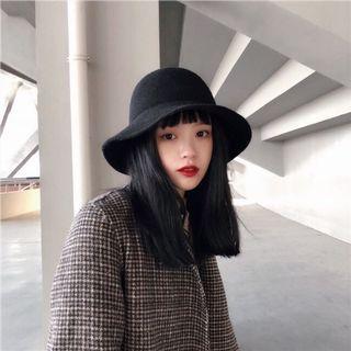 日本折疊無痕復古百搭圓頂羊毛禮帽子女秋冬英倫波浪帽