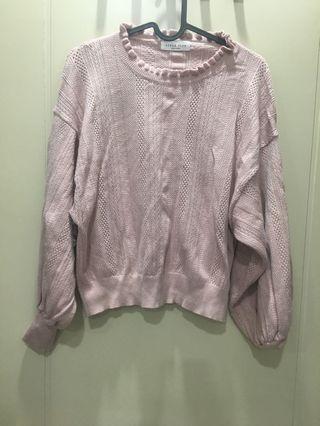 韓貨粉色針織上衣