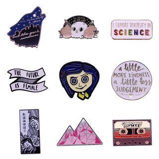 Enamel pin - bookish pin, Harry potter, movie, marvel, coraline,  tag hardback paperback