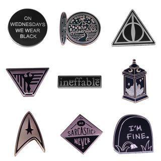 Enamel pin - bookish pin, Harry potter, good omen, star trek, addams family, blade runner movie film hardback paperback