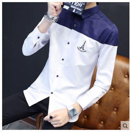 緞面藏青拼色襯衫👔