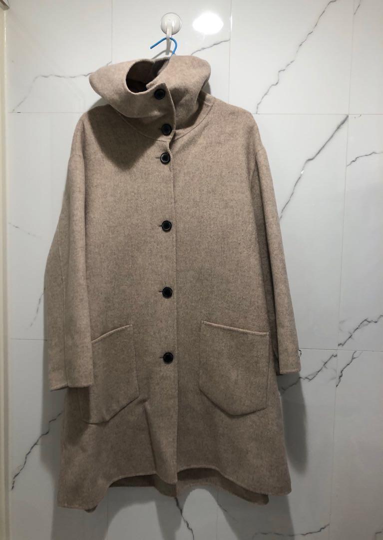 正韓 90%羊毛連帽手工大衣 燕麥 寬鬆
